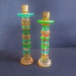 Vintage vtg rad rainbow candle stick holders